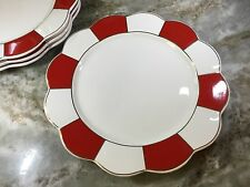Grace's Teaware Dinner Plates. Red, White And Gold. Set Of 4. Scalloped Edge New