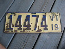 1919 19 VERMONT VT LICENSE PLATE NICE TAG RUSTIC OLDDIE BUY IT NOW.