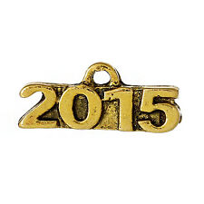 10 Gold Tone 2015 Graduation Pewter Charms or Pendants chg0154