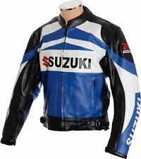 "GSX-R SUZUKI Blue Premium Leather Motorcycle Jacket with Race Hump EU54 XL 44"""