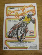 05/06/1978 Speedway Programme: Birmingham v Bristol (results noted). Thanks for
