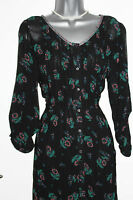 *MONSOON*Black Floral Print Long Sleeve Shirt Style Tunic Dress sz-8 Loose fit