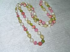 Vintage Tan Faux Pearl Green Pink Rose Carved Plastic Beads Necklace – 36 inches