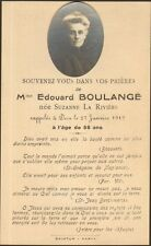 GENEALOGIE FAIRE PART DECES BOULANGE LA RIVIERE 1919