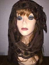 Long Brown Scarf Hijab Wrap Sheer very pretty and fashionable W/tassels Last1's