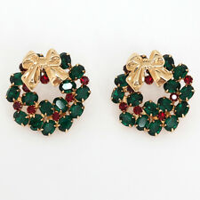 Gold plated round post and push back earrings with green and red pron... Lot 124