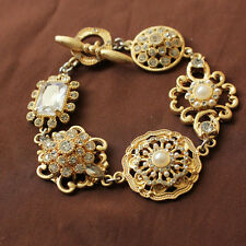 Costume Bracelet Gold Floral Art Deco Filigree Mini Pearl Wedding Retro CT3