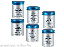 (47,80€/L) 6x 100ml Schwarzkopf got2b Strandmatte Matt-Paste Surfer Look