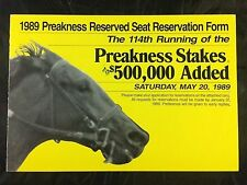 114th 1989 Preakness Reserved Seat Reservation Form Horse Racing Sunday Silence