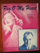 Peg O' My Heart recorded by Buddy Clark - 1947 sheet music Piano vocal chords