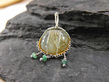 925 sterling silver pendant carved EMERALD gemstone wire wrapped OOAK