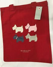 Radley London Red Canvas Quad Perro Bolso Mochila Bolso de Hombro Asas Largas