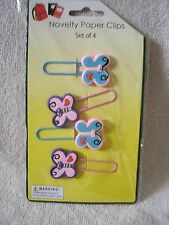 Set Of  4 Butterfly Paper Clip Bookmarks