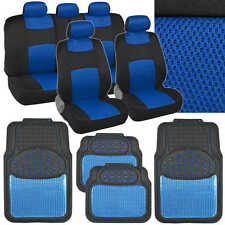 Sport Mesh Cloth Seat Covers w/ Metallic Heavy Duty Rubber Floor Mats in Blue