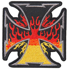 Iron Cross German Burn Flaming Fire WW2 Military Biker Tattoo Iron-On Patch B099