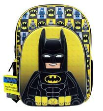 "Lego Batman Large Backpack School Bag 16"" Licensed by Lego and DC Comics New"