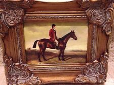 Country French Framed Oil Painting-Equestrian Hunt Scene
