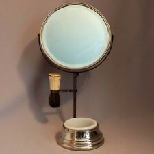 Antique Vintage Apollo Beveled SHAVING MIRROR STAND Milk Glass Soap Bowl Brush