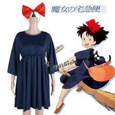 Kiki's Delivery Service Dark Blue Dress Headband Anime Cosplay Costume Outfit