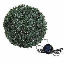 Pure Garden 10 Inch Topiary Outdoor Solar Light Plant Ball 20 White LED Lig
