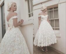 Off The Shoulder Wedding Dress Lace Short Bridal Gown Custom Size6 8 10 12 14 16