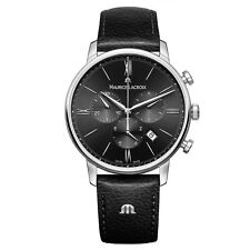 Maurice Lacroix EL1098-SS001-310-1 Mens Eliros Black Leather Strap Chronograph W