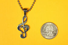 Treble Clef Heart Music Pendant Stainless Steel FREE beaded chain necklace