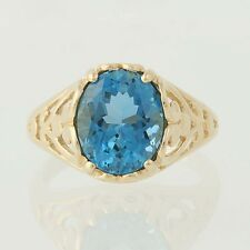 Blue Topaz Ring - 14k Yellow Gold Size 5 - 5 1/4 Women's Solitaire 3.50ctw