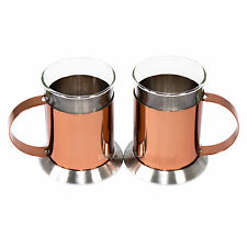 Set of 2 La Cafetiere Copper Glass Latte Glasses Cappuccino Tea Coffee Mugs Cups
