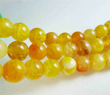 "New! 6mm Yellow Dragon Veins Agate Round Gemstones Loose Beads 15"" AAA"
