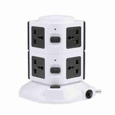 Vertical 7 Way+2USB Ports Overload Protected Extension Lead Socket 7Gang- 3.0M