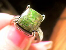 sterling silver 925  NATURAL AMMOLITE FOSSIL Ring 7 ESTATE CLASSY FIRE ORGANIC