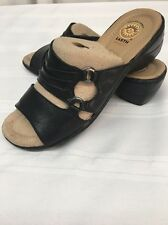 EARTH SPIRIT Sandals Burnette Slip On Black Sz 6.5 Leather