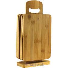 7 Tlg. Bambus Küchenbretter Set Schneidbretter Schneidebretter Holz mit Ständer