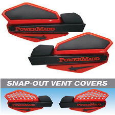 Powermadd Red/Black Star Snowmobile Handguards & Mount Kit Polaris/Skidoo etc