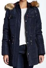 New With Tag - $200.00 Levi's Faux Fur Hood Diamond Quilted Navy Parka Size S