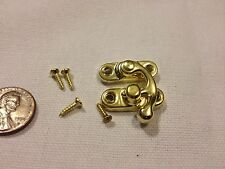 GOLD (S) Latch clasp small mini doll house Antique hook Carved wood box lock b21