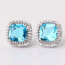 Fashion jewellery! 18k white gold filled aquamarine Charming stud earring