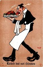 """""""Licked but not (b)eaten"""" Waiter Signed R. Lillo Postcard"""