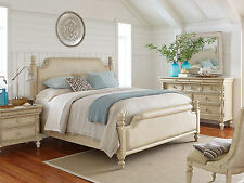 HAVANA - 5pcs TRADITIONAL WHITE WASHED PANEL QUEEN KING BEDROOM SET FURNITURE