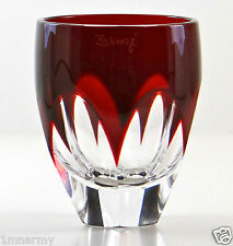 FABERGE LAUSANNE VODKA SHOT GLASS RUBY RED CASED CRYSTAL, SIGNED NEW!!