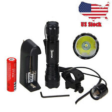 Tactical White/Red/Green Light LED Flashlight Torch Lamp Rifle Hunting Gun Mount