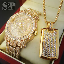 Hip Hop Iced Out Simulated Diamond WATCH & Stainless Steel Dog Tag Necklace Set