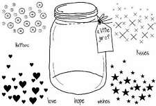 Jar Love Hope Kisses Wishes Buttons Hearts Stars clear craft rubber stamps words