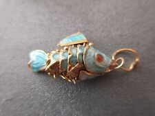 Cloisonne Articulated Mini Wiggle Fish Charm Pendant Blue 1pc