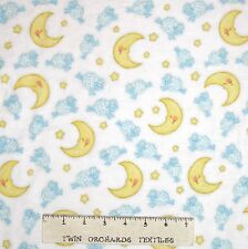 Nursery Baby Flannel Fabric - Sheep Jump Over Moon White - AE Nathan 11""