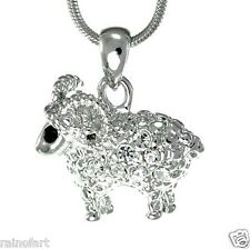 "Ram Animal W Swarovski Crystal Aries Sheep Pendant Necklace 18"" Chain Gift"