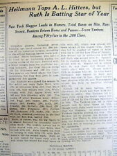 1921 NY Times newspaper BABE RUTH Home Run Leader TY COBB Baseball YANKEES