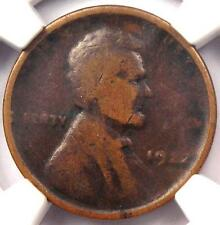 "1922 No D Strong Reverse Lincoln Wheat Cent 1C - NGC VG10 - Rare ""Plain"" Penny"