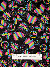 Peace Sign Cotton Fabric Rainbow Hearts Peace Butterfly Daisy on Black  ~ Yard